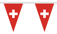 Switzerland Triangular Flag Bunting - 20m Long - 54 Flags